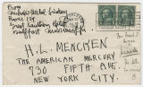 Signed envelope addressed to H. L. Mencken